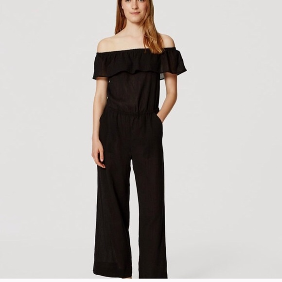 6d493582efe0 LOFT Pants - LOFT Beach Black Off The Shoulder Jumpsuit